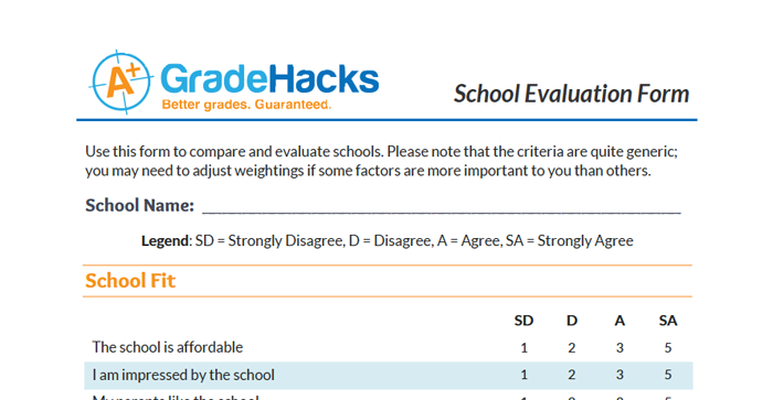 School Evaluation Form